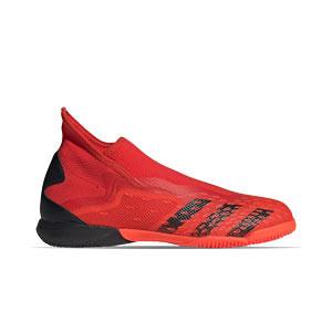 adidas Predator FREAK .3 LL IN - Zapatillas de fútbol sala sin cordones adidas suela lisa IN - rojas