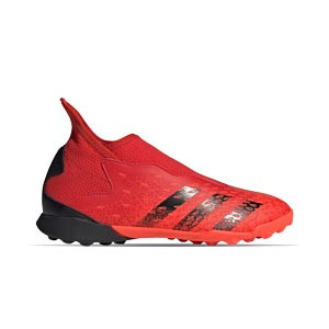 adidas Predator FREAK .3 LL TF J - Zapatillas de fútbol multitaco con tobillera adidas TF suela turf - rojas