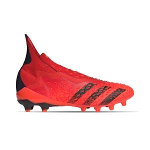 adidas Predator FREAK + AG - Botas de fútbol con tobillera sin cordones adidas AG para césped artificial - rojas