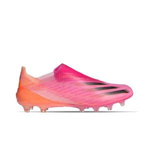 adidas X GHOSTED+ AG - Botas de fútbol sin cordones adidas AG para césped artificial - rosas - pie derecho
