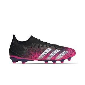 adidas Predator FREAK .3 Low MG - Botas de fútbol adidas MG para césped artificial - rosas y negras - pie derecho