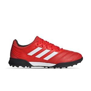 adidas Copa 20.3 TF - Zapatillas de fútbol multitaco de piel adidas suela turf - rojas y negras - derecho