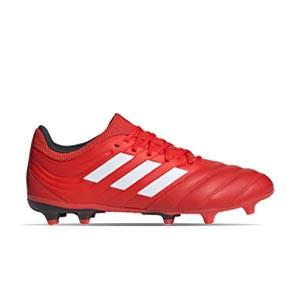adidas Copa 20.3 FG - Botas de fútbol de piel adidas FG para césped natural o artificial de última generación - rojas y negras - frontal