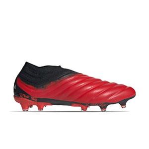 adidas Copa 20+ FG - Botas de fútbol de piel de canguro sin cordones adidas FG para césped natural o artificial de última generación - rojas y negras - derecho
