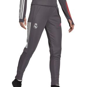 Pantalón adidas R Madrid entreno mujer 2020 2021 - Pantalón largo de entrenamiento de mujer del Real Madrid 2020 2021 - gris - frontal