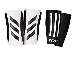 adidas Tiro League J - Espinilleras de fútbol infantiles adidas con mallas de sujeción - blancas