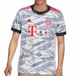 Camiseta adidas Bayern 3a 2021 2022 - Camiseta tercera equipación adidas del Bayern de Múnich 2021 2022 - blanca, gris