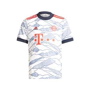 Camiseta adidas Bayern 3a niño 2021 2022 - Camiseta tercera equipación infantil adidas del Bayern de Múnich 2021 2022 - blanca, gris