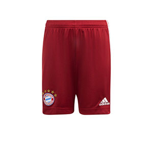 Short adidas Bayern niño 2021 2022 - Pantalón corto infantil primera equipación adidas Bayern de Munich 2021 2022 - granate