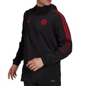 Chaqueta adidas Bayern Presentación - Chaqueta con capucha de presentación adidas Bayern de Múnich - negra