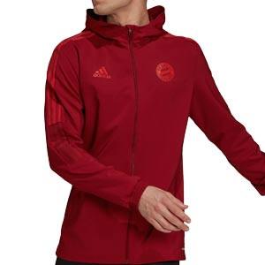 Chaqueta adidas Bayern Presentación - Chaqueta con capucha de presentación adidas Bayern de Múnich - roja