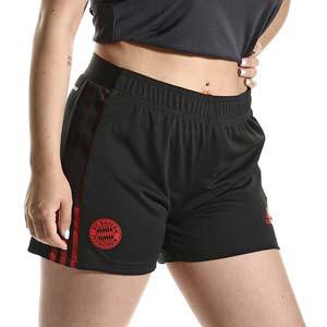 Short adidas Bayern mujer entrenamiento - Pantalón corto entrenamiento de mujer adidas Bayern de Múnich - negro - completa frontal