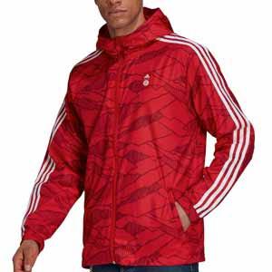 Cortavientos adidas Bayern Windbreaker - Chaqueta cortavientos con capucha adidas del Bayern de Múnich - roja