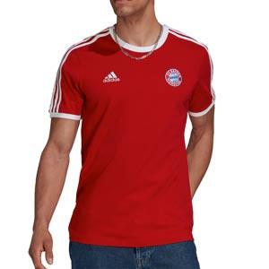 Camiseta adidas Bayern 3 Stripes - Camiseta de manga corta de algodón adidas del Bayern de Múnich - roja