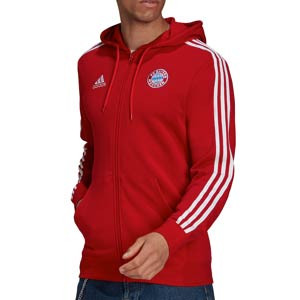 Sudadera adidas Bayern 3 Stripes Hoodie - Sudadera de algodón con capucha adidas del Bayern de Múnich - roja