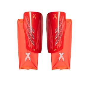 adidas X League - Espinilleras de fútbol adidas con mallas de sujeción - rojas