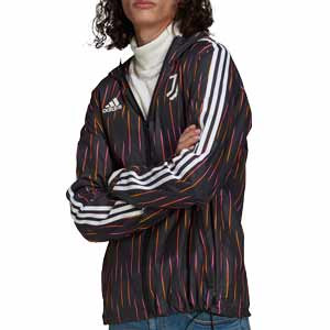 Cortavientos adidas Juventus Windbreaker - Chaqueta cortavientos con capucha adidas de la Juventus - negro