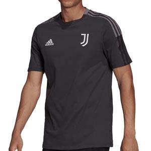 Camiseta algodón adidas Juventus entrenamiento - Camiseta manga corta de algodón entrenamiento para entrenadores adidas Juventus - gris - frontal