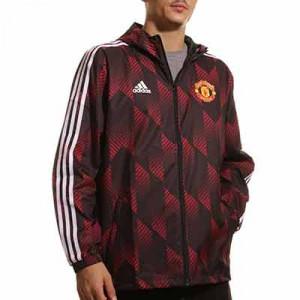 Cortavientos adidas United Windbreaker - Chaqueta cortavientos con capucha adidas del Manchester United - roja