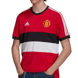 Camiseta adidas United 3 Stripes - Camiseta de algodón adidas del Manchester United - roja