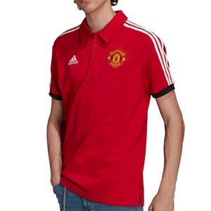 Polo adidas United 3 Stripes - Polo de algodón adidas del Manchester United - rojo