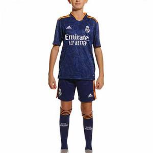 Equipación adidas Real Madrid 2a niño 2021 2022 - Conjunto infantil 7-14 años segunda equipación adidas Real Madrid CF 2021 2022 - azul