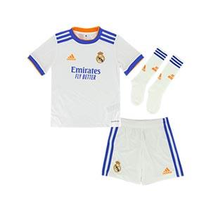 Equipación adidas Real Madrid niño pequeño 2021 2022 - Conjunto infantil 1-6 años primera equipación adidas Real Madrid CF 2021 2022 - blanco - completa frontal