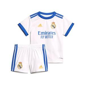 Equipación adidas Real Madrid bebé 2021 2022 - Conjunto de bebé 3-18 meses primera equipación adidas Real Madrid CF 2021 2022 - blanco - completa frontal