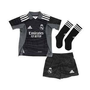 Equipación adidas portero Real Madrid niño pequeño 2021 2022 - Conjunto infantil 1-6 años equipación portero adidas Real Madrid 2020 2021 - negro