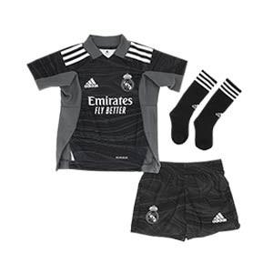 Equipación adidas Real Madrid portero niño 2021 2022 - Conjunto infantil de 7 a 14 años de portero adidas del Real Madrid CF - negro