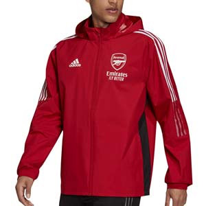 Cortavientos adidas Arsenal All Weather - Chaqueta cortavientos con capucha adidas Arsenal FC - roja