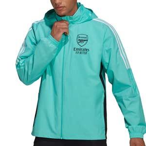 Chaqueta adidas Arsenal All Weather - Chaqueta cortavientos con capucha adidas Arsenal FC - verde menta