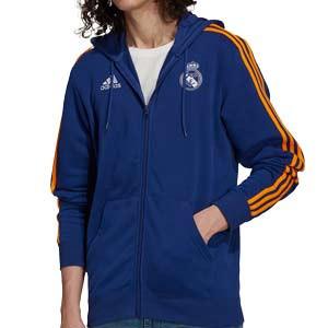 Sudadera adidas Real Madrid 3 Stripes Hoodie - Sudadera de algodón con capucha adidas del Real Madrid CF - azul