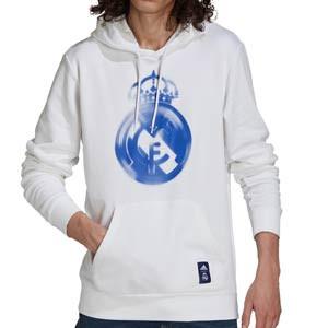 Sudadera adidas Real Madrid Hoodie - Sudadera de algodón con capucha de paseo adidas del Real Madrid CF - blanca