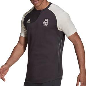 Camiseta adidas Real Madrid Travel - Camiseta de manga corta de algodón adidas del Real Madrid CF - gris oscura y blanca