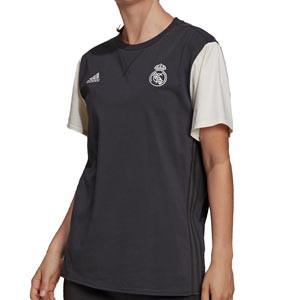 Camiseta adidas Real Madrid Travel mujer - Camiseta de manga corta de algodón para mujer adidas del Real Madrid CF - gris oscura y blanca