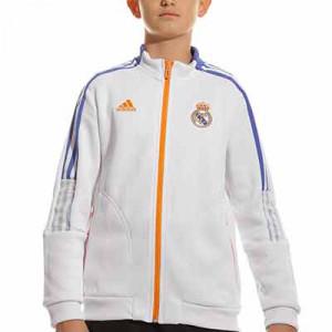 Chaqueta adidas Real Madrid niño Presentación - Chaqueta con capucha infantil de presentación para entrenadores adidas Real Madrid CF - blanca