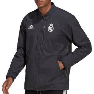 Chaqueta adidas Real Madrid Travel Coach - Chaqueta de paseo para entrenadores adidas del Real Madrid CF - gris oscura