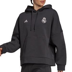 Sudadera adidas Real Madrid mujer Hoodie - Sudadera de algodón con capucha de mujer adidas del Real Madrid CF - negra