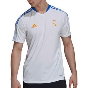 Camiseta adidas Real Madrid entrenamiento - Camiseta manga corta entrenamiento para entrenadores adidas Real Madrid CF - blanca - completa frontal