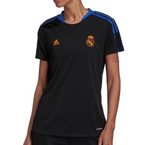 Camiseta adidas Real Madrid mujer entrenamiento - Camiseta manga corta entrenamiento mujer adidas Real Madrid CF - negra - completa frontal