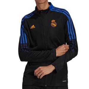 Chaqueta adidas Real Madrid mujer entrenamiento - Chaqueta de entrenamiento de mujer adidas del Real Madrid CF - negra - completa frontal