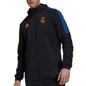 Chaqueta adidas Real Madrid Presentación - Chaqueta con capucha de presentación adidas Real Madrid CF - negra - completa frontal