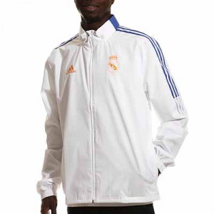 Cortavientos adidas Real Madrid All Weather - Chaqueta cortavientos con capucha para entrenadores adidas del Real Madrid CF - blanca - completa frontal