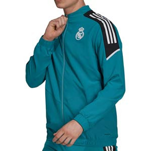 Chaqueta adidas Real Madrid presentación UCL - Chaqueta de presentación adidas Real Madrid CF para la Champions League - verde turquesa