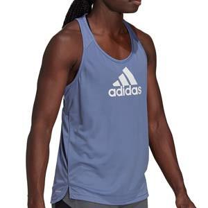Camiseta adidas mujer Designed 2 Move Logo - Camiseta de tirantes de mujer adidas para entrenamiento de fútbol - lila azulada
