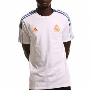 Camiseta algodón adidas Real Madrid entrenamiento - Camiseta manga corta de algodón entrenamiento para entrenadores adidas Real Madrid CF - blanca - completa frontal