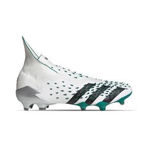adidas Predator FREAK + FG EQT - Botas de fútbol con tobillera sin cordones adidas FG para césped natural o artificial de última generación - blancas