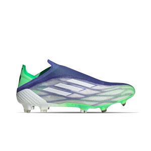 adidas X SPEEDFLOW+ Adizero FG - Botas de fútbol sin cordones adidas FG para césped natural o artificial de última generación - blancas, verdes