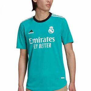 Camiseta adidas Real Madrid 3a authentic 2021 2022 - Camiseta adidas authentic segunda equipación Real Madrid CF 2021 2022 - verde turquesa